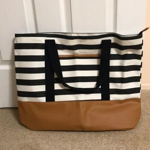 DSW Black and White Striped Tote bag